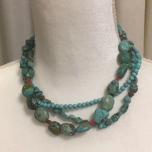 Jewelry - GENUINE TURQUOISE BEADED NECKLACE VINTAGE